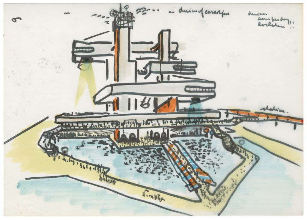 Van den Broek en Bakema, Carel Weeber (sketch by Jaap Bakema). Dutch Pavilion in Osaka, Japan, 1968-70. Collection Het Nieuwe Instituut, BAKE d34-13