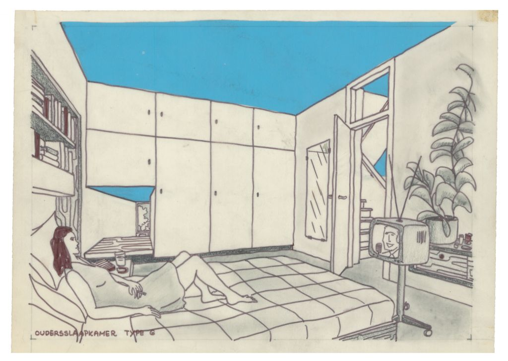 Van den Broek en Bakema, interior impression of modern everyday life, drawing made for 't Hool, Eindhoven, 1961-72. Collection Het Nieuwe Instituut, BROX 1307t9-2